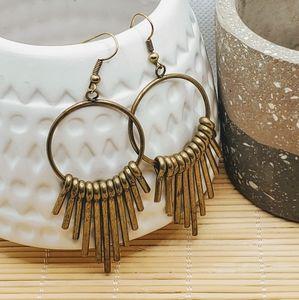 Mid Century Modern Style Antiqued Brass Earrings